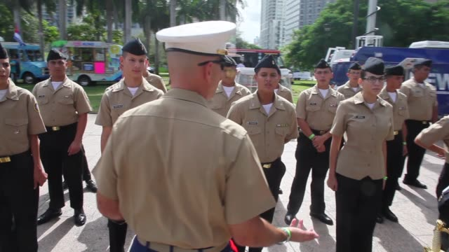 tracking shot scouts standing guard to honor veterans of the vietnam war the bay of pigs and all wars the city of miami holds the miamidade county... - miami dade county stock videos and b-roll footage
