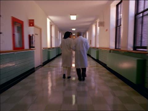 vídeos de stock, filmes e b-roll de rear view tracking shot senior male + female doctors walking down hospital corridor talking - corredor