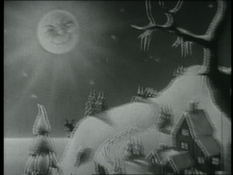stockvideo's en b-roll-footage met b/w 1948 animated tracking shot silhouette of santa's sleigh taking off - prelinger archief