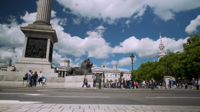 tracking shot towards nelson's column and the national gallery. - nelson's column stock videos and b-roll footage