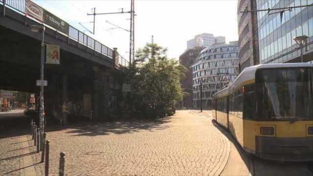 tracking shot tram in berlin - markt stock videos & royalty-free footage