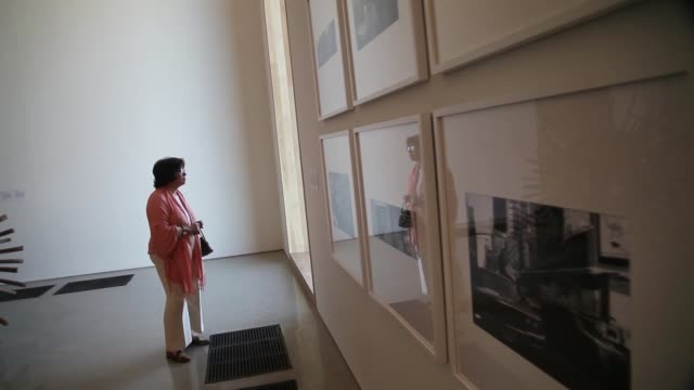 tracking shot, visitors walk through a gallery during the opening day of the pérez art museum miami on december 4, 2013 in miami, florida. the museum... - biscayne bay stock-videos und b-roll-filmmaterial
