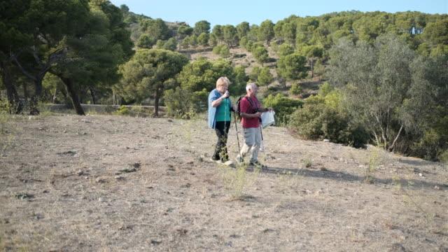 晴れた日に屋外でハイキングするシニアカップルの横道を追跡します。 - sunny点の映像素材/bロール
