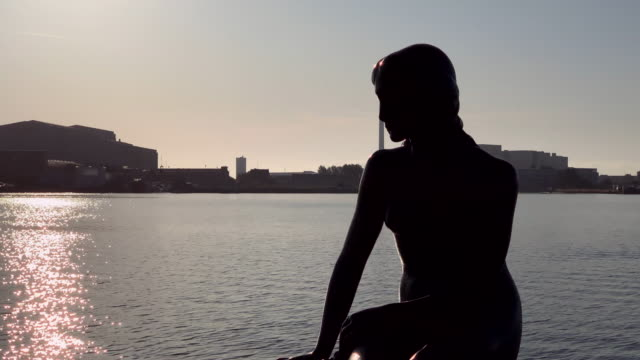tracking silhouette of the little mermaid in copenhagen - literature stock videos & royalty-free footage