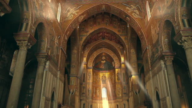 tracking through the stunningly ornate, gilded cathedral of monreale in palermo, sicily, italy - religion stock videos & royalty-free footage