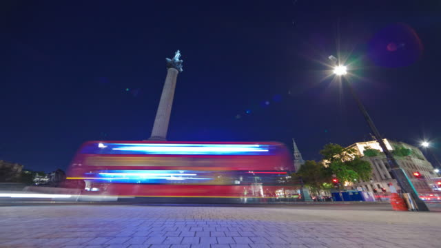 tracking time-lapse of nelson's column in trafalgar square, london. - nelson's column stock videos and b-roll footage