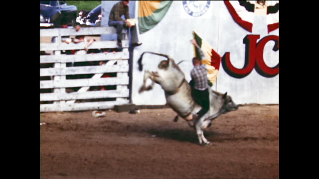 tracking views of different cowboys trying to ride angry bull and end up being thrown onto the ground bull charges at suspended dummy in the middle... - charging sports stock videos & royalty-free footage