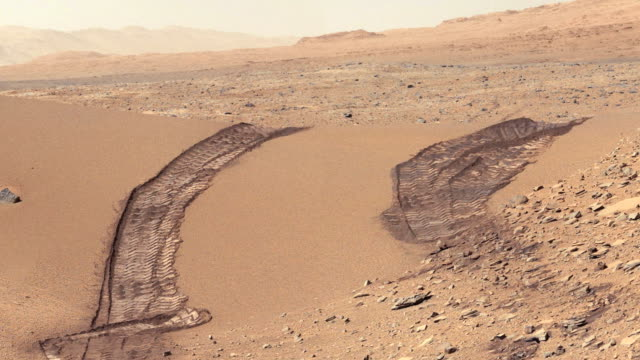 Tracks of the Curiosity rover on Mars