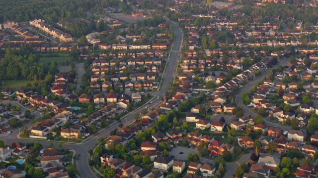 aerial tract housing in ottawa, ontario - canada stock videos & royalty-free footage