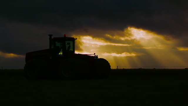 tractor at sunset - sunbeam stock videos & royalty-free footage