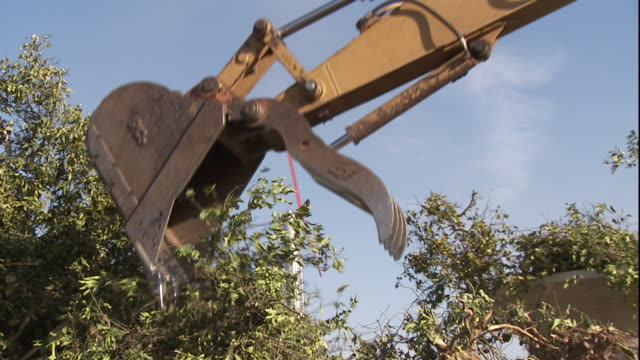 a tractor claw lifts a pile of bushes. - demolished stock videos & royalty-free footage