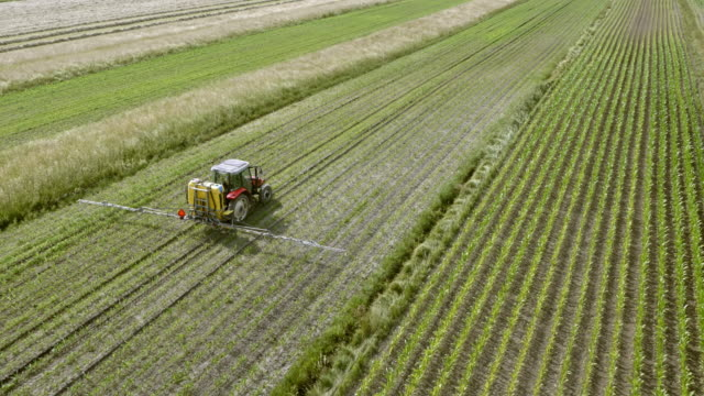stockvideo's en b-roll-footage met luchtfoto trekker op het veld sproeien van de gewassen - tractor