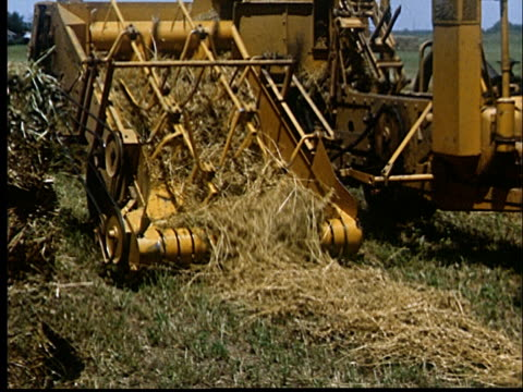 vidéos et rushes de cu, tractor picking up hay in field, 1950's, oklahoma, usa - machinerie