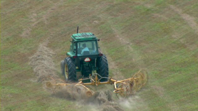 a tractor pulls a hay rake behind it through a field. - fieno video stock e b–roll