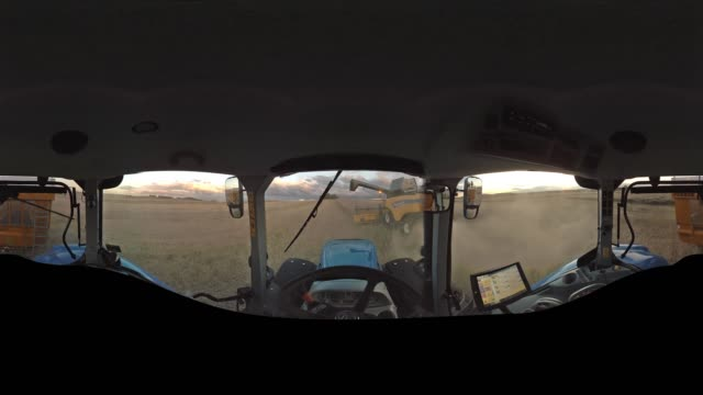 tractor ride at harvest - equirectangular panorama stock videos & royalty-free footage