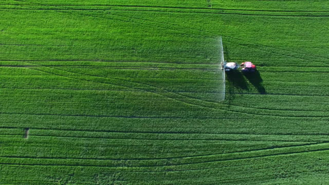 Tractor Spraying Crop Field In Spring Flyover