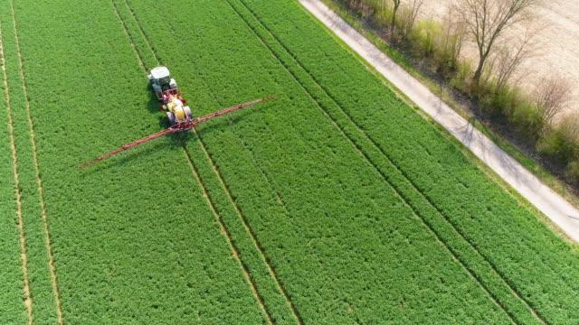 vídeos de stock e filmes b-roll de tractor spraying crop field in spring flyover - inseticida