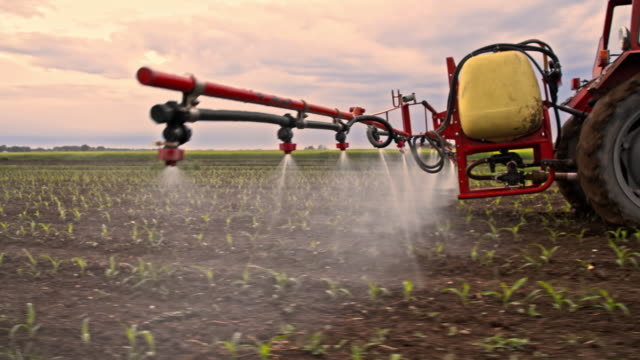 tractor spraying pesticides on a field - spraying stock videos and b-roll footage