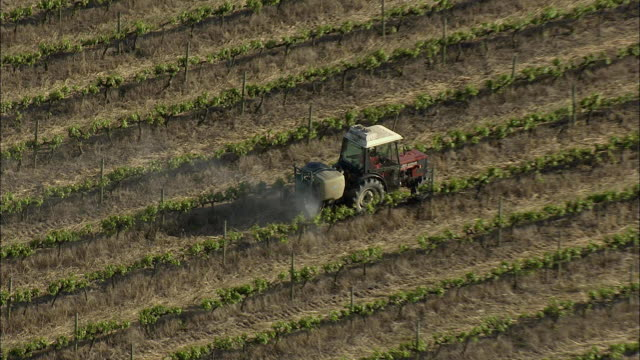 aerial zo tractor spraying vines with pesticide, stellenbosch, western cape, south africa - stellenbosch stock videos and b-roll footage