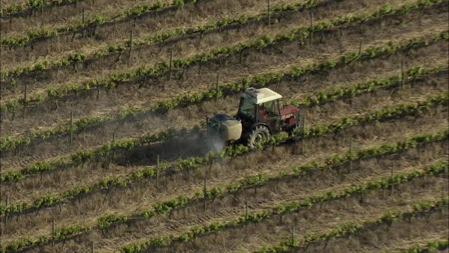 aerial zo tractor spraying vines with pesticide, stellenbosch, western cape, south africa - stellenbosch 個影片檔及 b 捲影像
