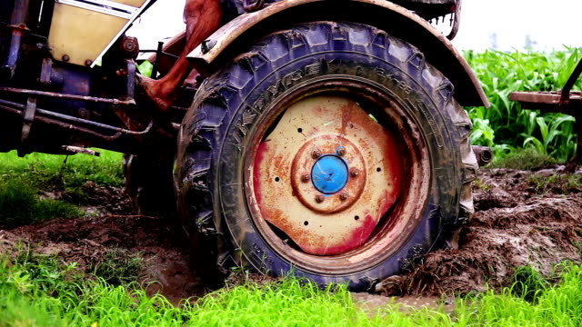 stockvideo's en b-roll-footage met tractor vast in de modder - tractor