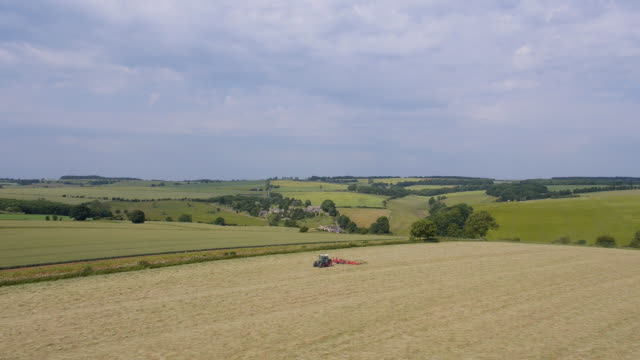 Tractor Tedding Field, Aerial View