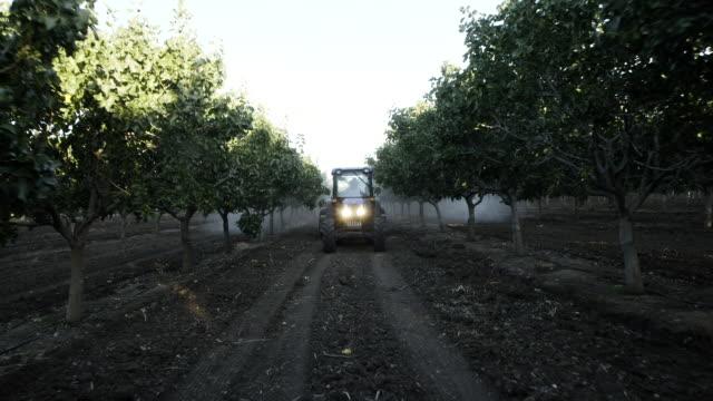 tractor waters trees in orchard - 殺虫剤点の映像素材/bロール