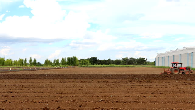 tractor working on field in thailand,time lapse. - tractor stock videos & royalty-free footage