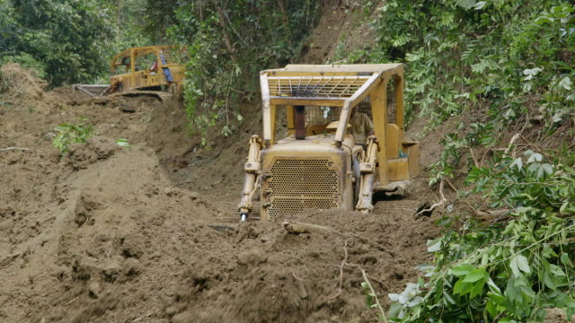 ms tractors clearing forest road for logging / tawau, sabah, malaysia - bulldozer stock videos and b-roll footage