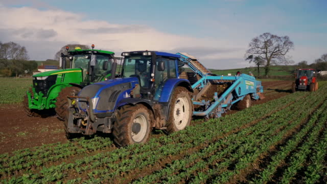 stockvideo's en b-roll-footage met tractors pulling harvesters, uk - onder