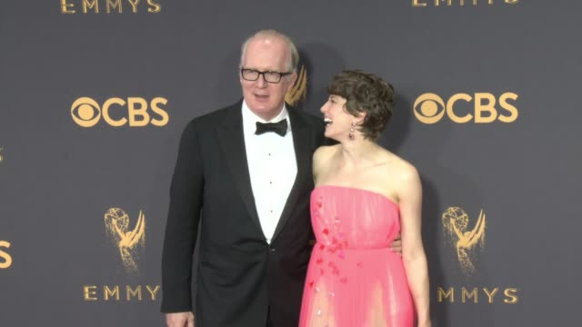 tracy letts and carrie coon at the 69th annual primetime emmy awards at microsoft theater on september 17, 2017 in los angeles, california. - annual primetime emmy awards stock-videos und b-roll-filmmaterial