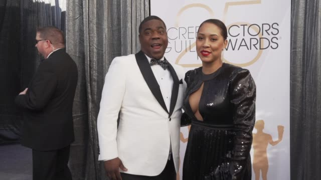 Tracy Morgan and Megan Wollover at the 25th Annual Screen Actors Guild Awards Social Ready Content at The Shrine Auditorium on January 27 2019 in Los...