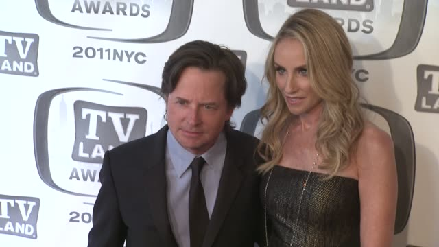 tracy pollan and michael j fox at the 9th annual tv land awards arrivals at new york ny - michael j. fox stock videos and b-roll footage