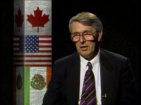 london cms dr michael hodges intvwd sof nafta will rival the ec in terms of its size and gdp and is significant because two industralised countries... - significant stock videos & royalty-free footage