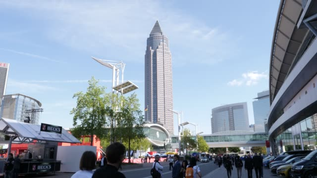 trade fair tower can be seen from the standpoint of the 2019 iaa frankfurt auto show on september 11 2019 in frankfurt am main germany the iaa will... - main tower stock videos and b-roll footage