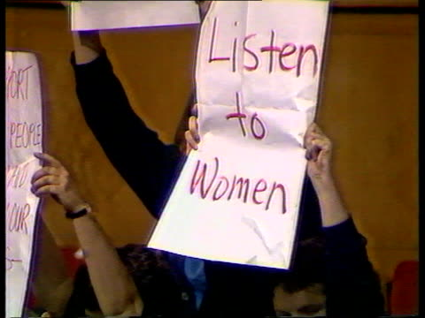 trade union block votes itn lib brighton tms women protesters holding up posters at labour party conference cms 'listen to women' poster pull out tms... - political party stock videos & royalty-free footage