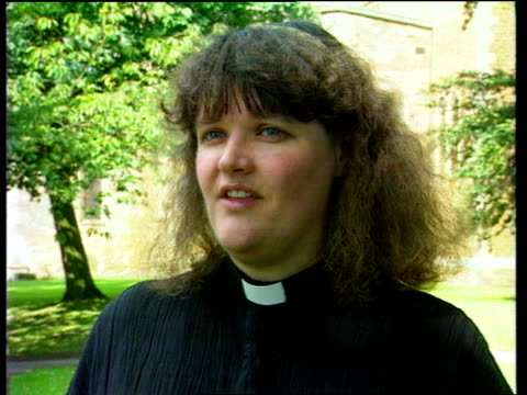 trade union for anglican vicars; lms reverend carolyn kennedy towards into church lams kennedy takes pew-cushion out of sack gv church with kennedy... - anglican stock videos & royalty-free footage