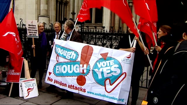 vídeos de stock e filmes b-roll de trade union members demonstrating outside the high court; england: london: high court: ext general view of high court entrance / various of... - european union coin