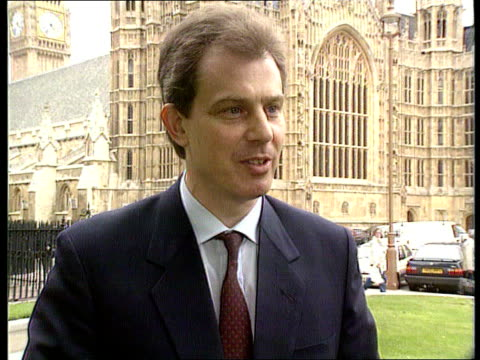 trade union reforms london westminster cms tony blair mp intvwd sof this would have made no difference to the situation in liverpool/just camouflage... - tony blair stock-videos und b-roll-filmmaterial