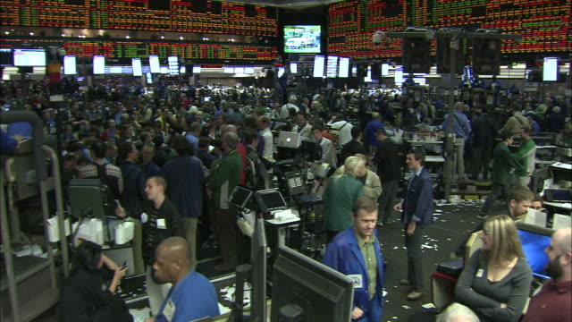 traders fill the chicago stock exchange. - market trader stock videos & royalty-free footage