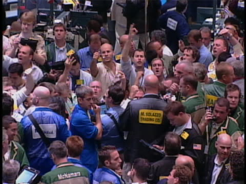 traders shout out transactions on the floor of the new york stock exchange. - market trader stock videos & royalty-free footage