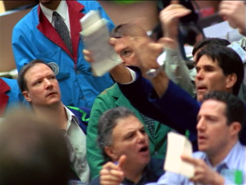 traders shouting + waving arms on floor of coffee, sugar + cocoa exchange, nyc - 1999 stock videos & royalty-free footage