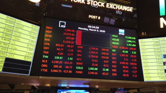 traders work on the floor of the new york stock exchange on march 09, 2020 in new york city. stocks fell sharply as fears grow across the world over... - market stock videos & royalty-free footage