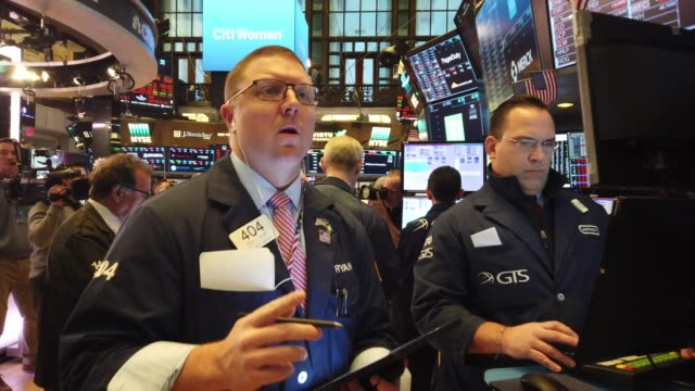 traders work on the floor of the new york stock exchange on march 09, 2020 in new york city. stocks fell sharply as fears grow across the world over... - market trader stock videos & royalty-free footage
