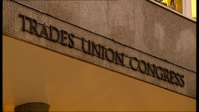 trades union congress building; england: london: ext / dusk general views trades union congress building, people along and past up street, steps... - trades union congress stock videos & royalty-free footage