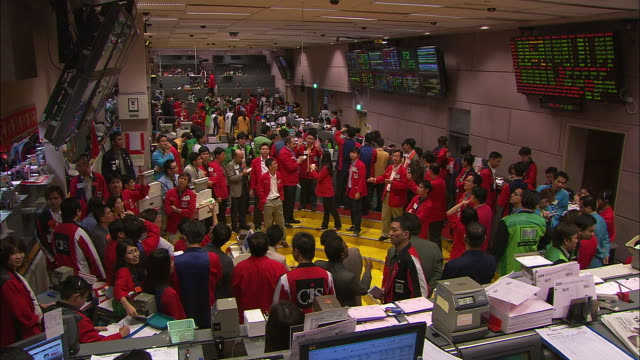 t/l, ws, ha, trading floor of singapore stock exchange, singapore - 国際金融点の映像素材/bロール