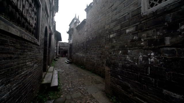 Fuzhou, China - May 29, 2017: Traditional alley with buildings in Liukeng Village