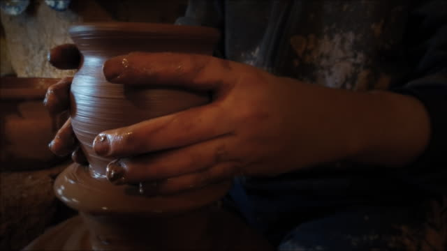 traditional and manual pottery production - potter's wheel stock videos & royalty-free footage
