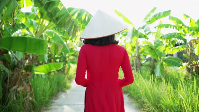 traditional asian lady on banana plantation walkway vietnam - 赤のドレス点の映像素材/bロール