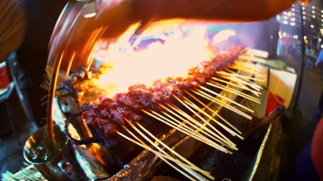 Traditional Asian meat satay street food barbecue Asia